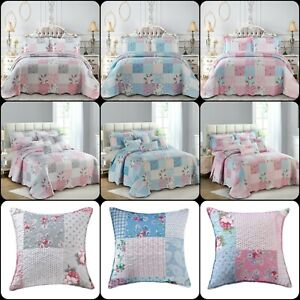 New Floral Patchwork Quilt Bedspread Bedding Set with Cushion Cover in all Sizes