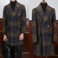 Men's Vintage Wool Trench Jacket Windowpane Double-breasted Suit Blazer Overcoat