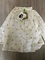 New Margherita Girls Daisy Logo Smock Shirt, Cream / White, Age 4, RRP £42