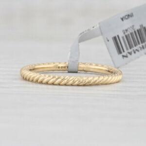 New David Yurman Cable Stackable Band 18k Yellow Gold Size 6 Wedding Ring