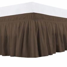Queen 400Tc Sateen Solid Cotton Wrap Around Bed Skirt Chocolate