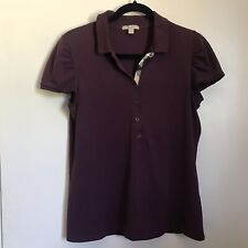 Burberry Brit Polo Shirt XL Maroon Purple Nova Trim Ruched Sleeve Women's