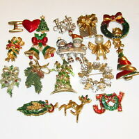 Christmas Pin LOT 16 Pc ALL SIGNED Ann Hand Angel Vintage Reindeer Tree Xmas