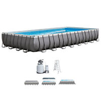 Intex 32 x 16 x 4.3 Foot Ultra Frame Rectangular Swimming Pool Set with Pump