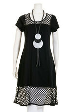 HEBBEDING BLACK COTTON MESH DRESS SIZE 1 UK12/14