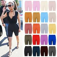 Womens Ribbed Stretchy Active wear Yoga Dance Gym Hot Pants Biker Cycling Shorts