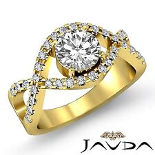 Vinatge Cross Shank Round Diamond Engagement Ring GIA I SI1 18k Yellow Gold 2ct