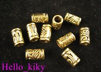 60Pcs  Antiqued gold plt ornate tube spacer beads A276