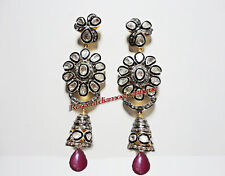 & Polki Ruby Wedding Style Earrings Real Natural 3.14ct Antique Rose Cut Diamond