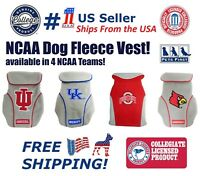 Pets First NCAA Dog Fleece Vest keep your puppy warm & cozy - Licensed - 4 Teams