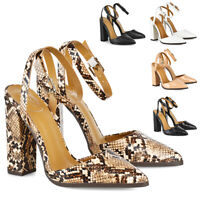 Womens Ankle Strap Pointed Toe Shoes Ladies Block Mid High Heel Pumps Size 3-8