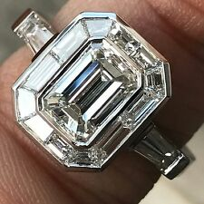 Emerald Cut Diamond Engagement With Trapezoid Halo , Vintage Look,  2.8 CTW