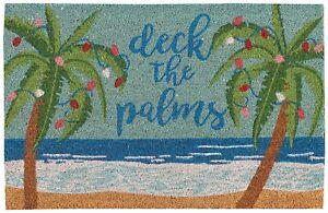Nourison Deck The Palms Coir Doormat One Size Blue/beige/green