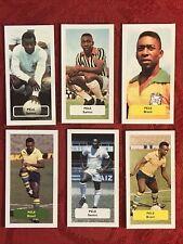 PELE FOOTBALL-SOCCER CARDS SANTOS-BRAZIL-6 CARD LOT-VERY RARE U.K. ISSUE-NMINT