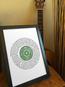 40th Birthday framed vinyl print - Personalised gift - Favourite song lyrics