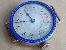 Ladies silver enamel and gold plate trench watch for repair, restoration project