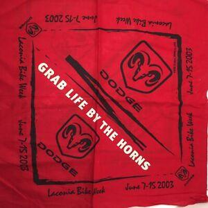 "1 Yard Red Black Fabric Panel Dodge Laconia Bike Week 2003 44"" 100% Cotton"