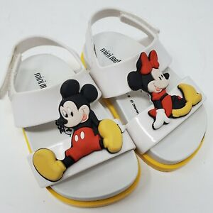 Mini Melissa Mickey & Minnie Mouse White Sandals Shoes Size 6