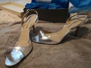 Genuine Manolo Blahnik Silver Heels Size 8 Size 42