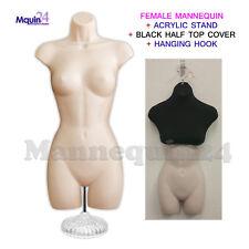 FEMALE MANNEQUIN DRESS FORM FLESH w/Stand + Half Top Cover BLACk + Hanging Hook