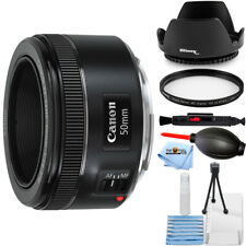 Canon Ef 50mm f/1.8 Stm Lens 0570C002 + Uv Filter + Tulip Hood Lens Bundle