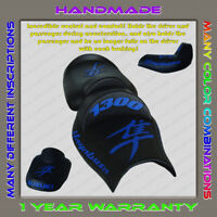 Unique Custom Seat COVER Suzuki Hayabusa 99-07 (1 Gen) Black+Blue (3pillow)