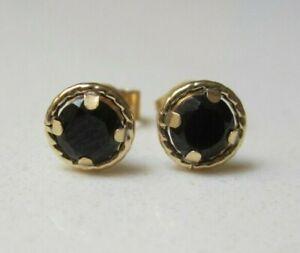 New Halo 4mm Black Sapphire 9ct Yellow Gold Stud Earrings £46.99  Freepost