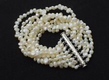 """8rows 7.5"""" white baroque freshwater pearl bracelet wholesale nature bead 5-6mm"""