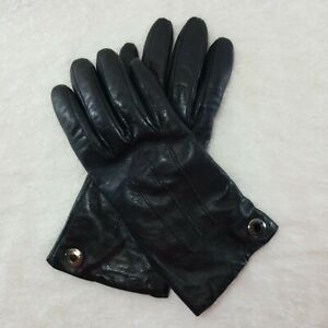 Coach Black Leather And Cashmere Gloves Women's Size 6.5