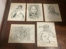 PAUL CEZANNE'S CHARCOAL DRAWINGS ON PAPER SIGNED SEALED 5 PIECES