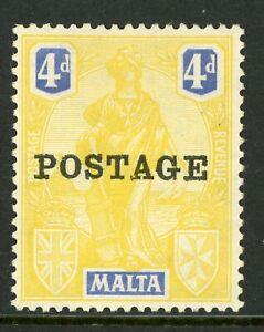"Malta 1926 ""Postage"" Commemoratives 4p Yellow & Ultra Scott 123 Mint A279  ⭐⭐⭐"