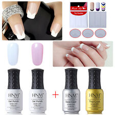 Gel Nail Polish + Base Top Coat + Tips Guides Stickers French Manicure Kit HNM