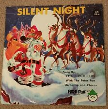 Christmas Records Peter Pan Records 45 RPM Silent Night Vintage Collectible