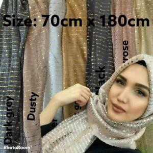Shiny Sequins Shimmer Pleat Crinkle Scarf Muslim Hijab Islamic Women Veils Shawl
