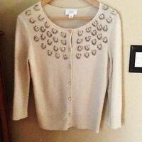 Ann Taylor Loft Merino Wool Beaded Sweater/Cardigan - size M