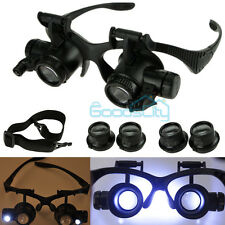10X 15X 20X 25X LED Double Eye Watch Jeweler Repair Magnifier Glasses Loupe LED