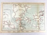 1902 Antique Railway Map of Denmark Copenhagen Jutland Danish Railroad Routes