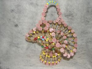 Vintage Folk Art Primitive Pins with Plastic Beads Handcrafted Beaded Basket