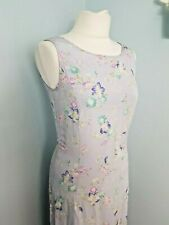 Vintage Laura Ashley Dress Gown 100% Silk Purple Lilac Floral 8 NWT RRP £99