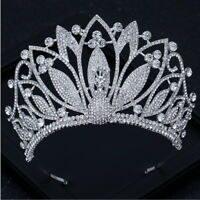 9cm High Large Full Crystal Leaf Wedding Bridal Party Pageant Prom Tiara Crown