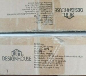 "SALE ! ! Design House 564765 72"" Aluminum Shower Rod, 5-Pack, Polished Chrome"