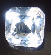 Asscher Flanders 8 x 8 mm 3.4 ct Natural White Sapphire Brilliant Solitaire Cut