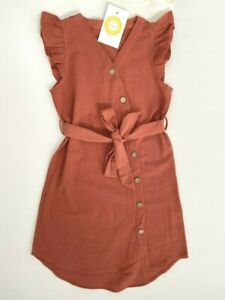size 2y to 8-9 years new girls dress sienna curve hem button dress with belt