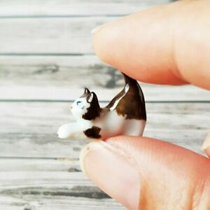 Dollhouse Miniatures Ceramic Cat Kitten Figurine White Brown Collectibles Tiny