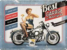 best garage bleu, Motos Moto PINUP GIRL rétro large 3D métal estampé ENSEIGNE