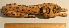 Vintage 40s Hand Carved Wood Cheetah Sculpture Figurine South African Art - 1817