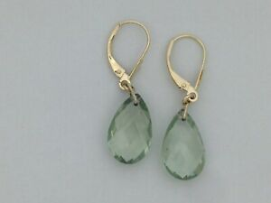 Natural Green Amethyst Dangle Earrings Solid 14kt Yellow Gold