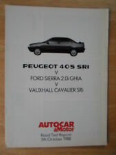 Peugeot 405 sri/ford sierra ghia v cavalier sri 1988 uk marketing essai routier brochure