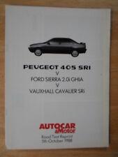 PEUGEOT 405 SRi v Ford Sierra Ghia v Cavalier SRi 1988 UK Mkt Road Test Brochure