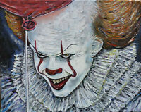 CLOWN movie IT Pennywise oil painting 8x10 canvas original signed art by Crowell